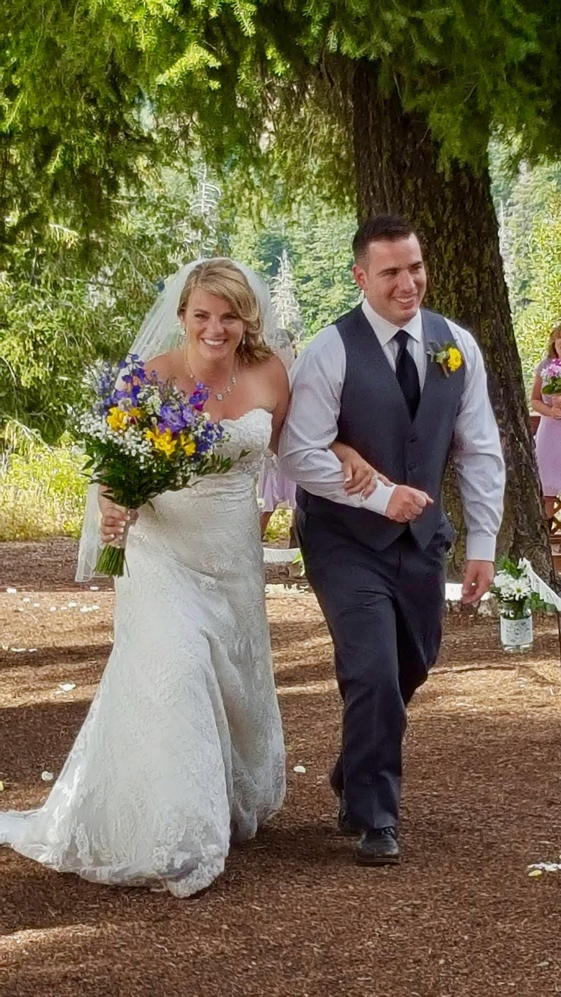 Bride and groom at Bogus Basin wedding