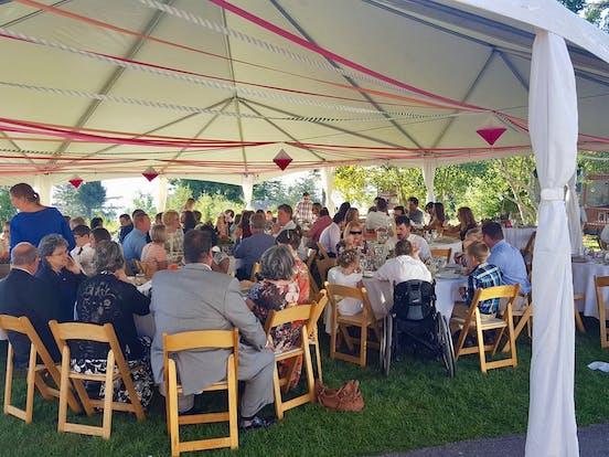 Tent set up for Bogus Basin wedding