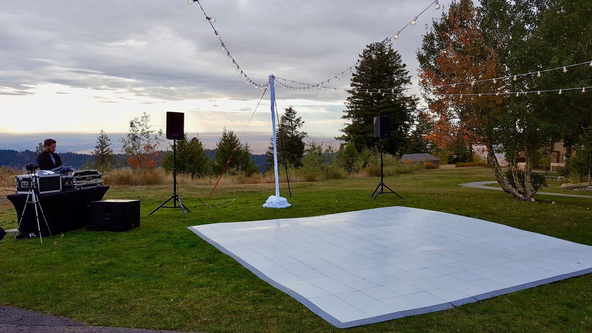 Dance floor and DJ set up for a Bogus Basin Wedding