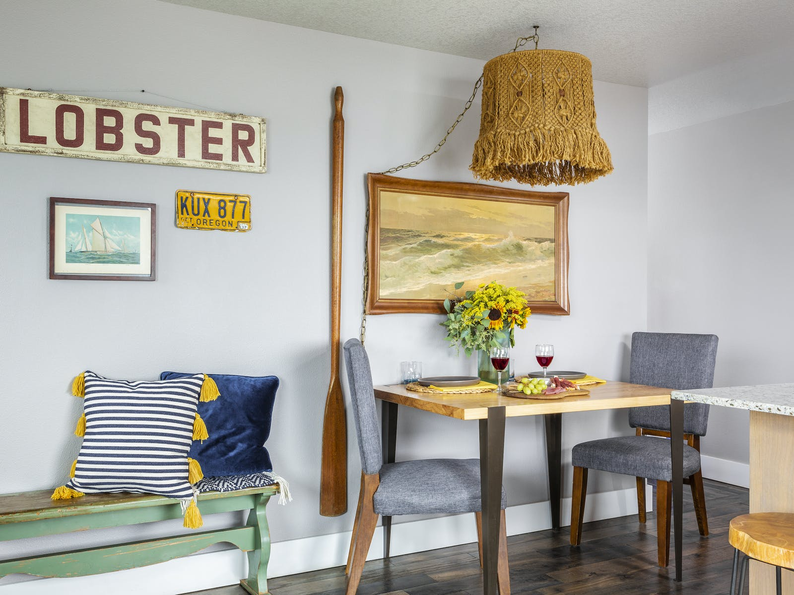Nautical themed kitchen area of vacation rental