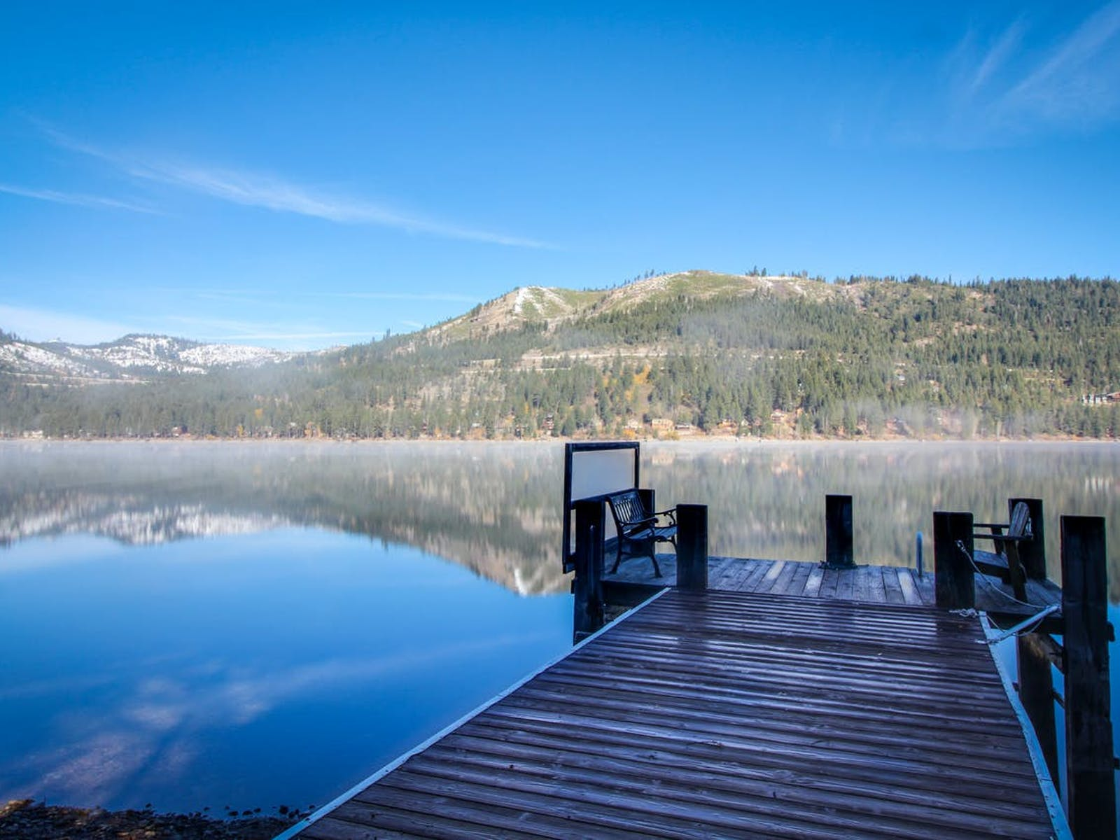 dock with benches over Donner Lake