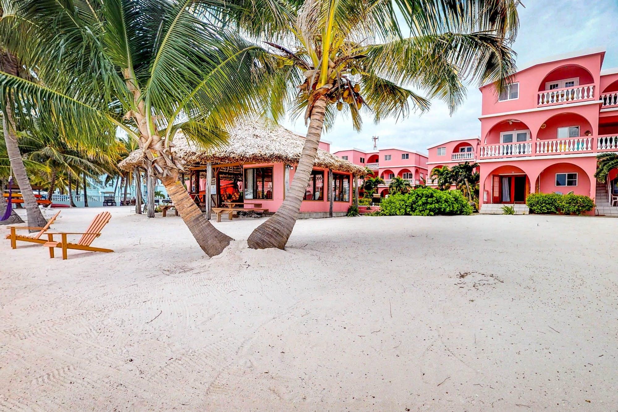 Pink Belize oceanfront vacation rental