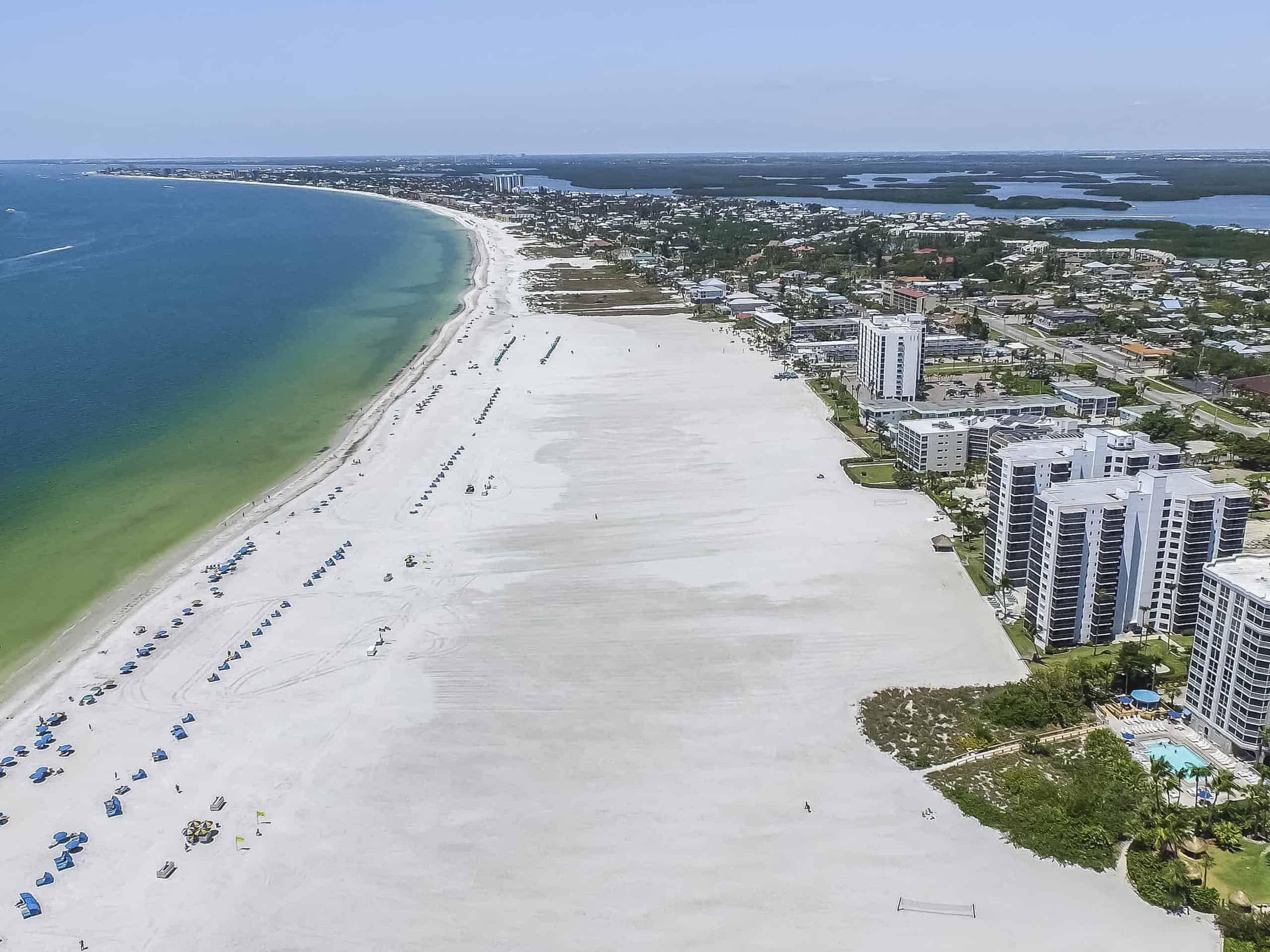 arial view of the ocean and beach in fort myers beach, florida