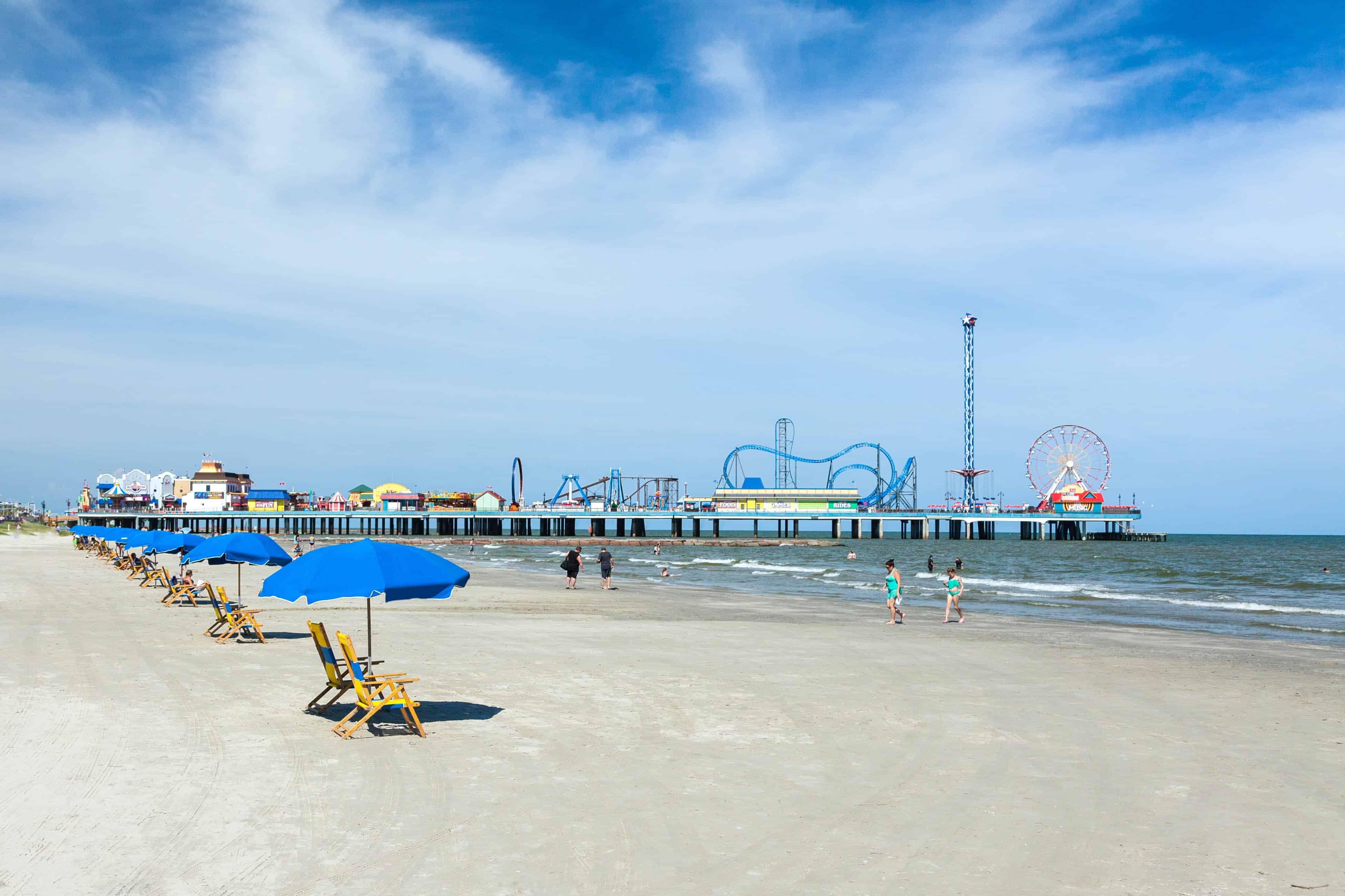 A view of the beach in Galveston TX