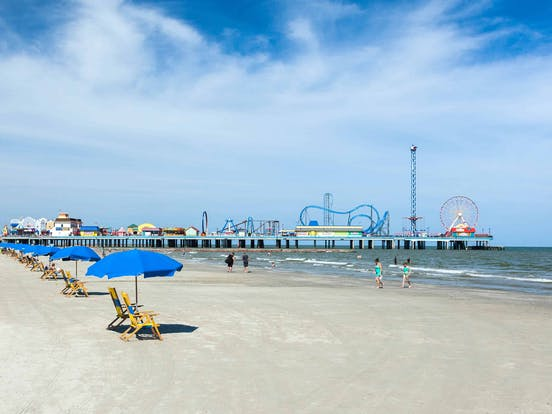 A view of the beach in Galveston TX