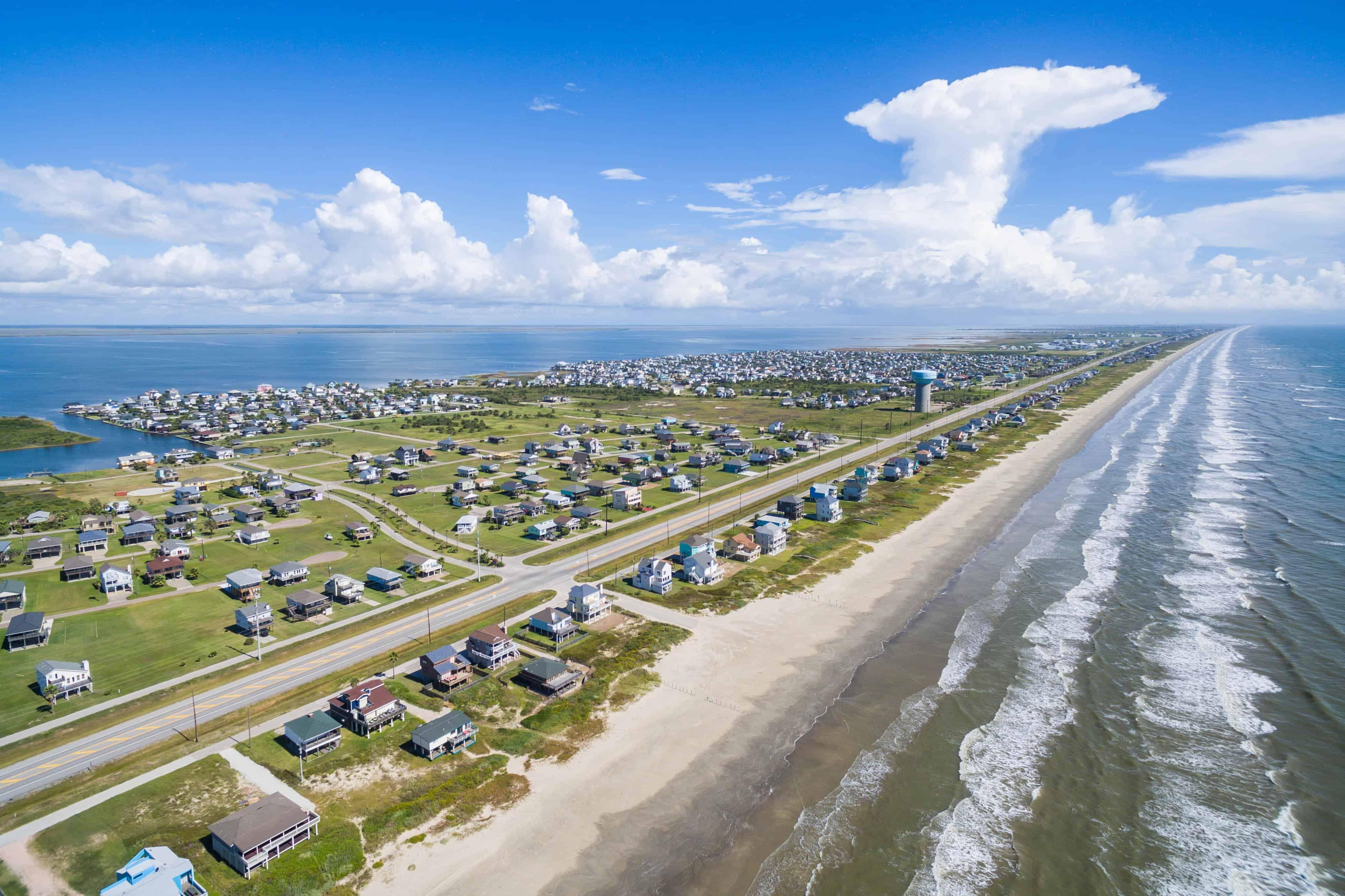 Ariel view of beach houses in Galveston, TX