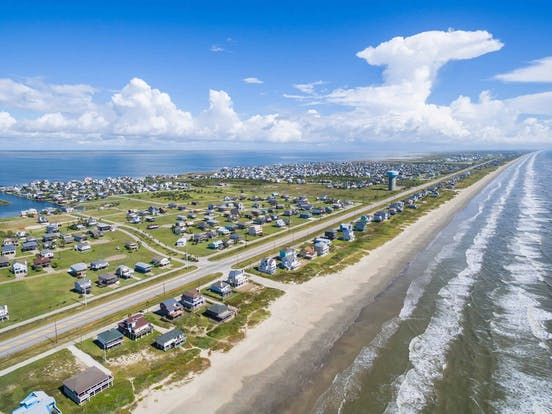 Ariel view of beach houses in Galveston, TX