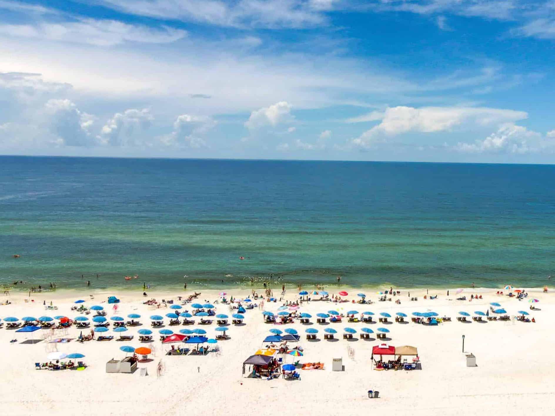 Crowded beach in Gulf Shores, AL