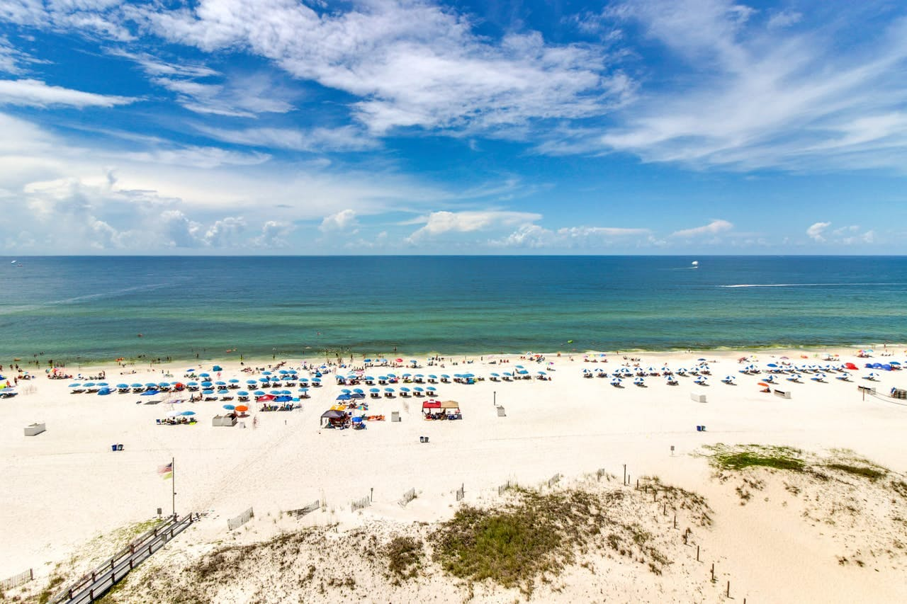 panoramic view of the beach and ocean in gulf shores, alabama