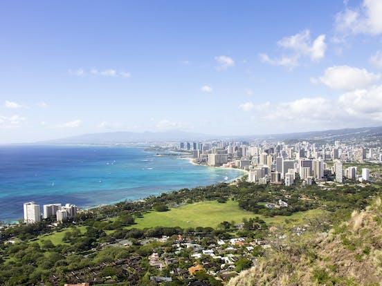Aerial view of Honolulu skyline and coastline