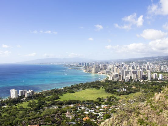 Aerial view of Honolulu skyline and coastline