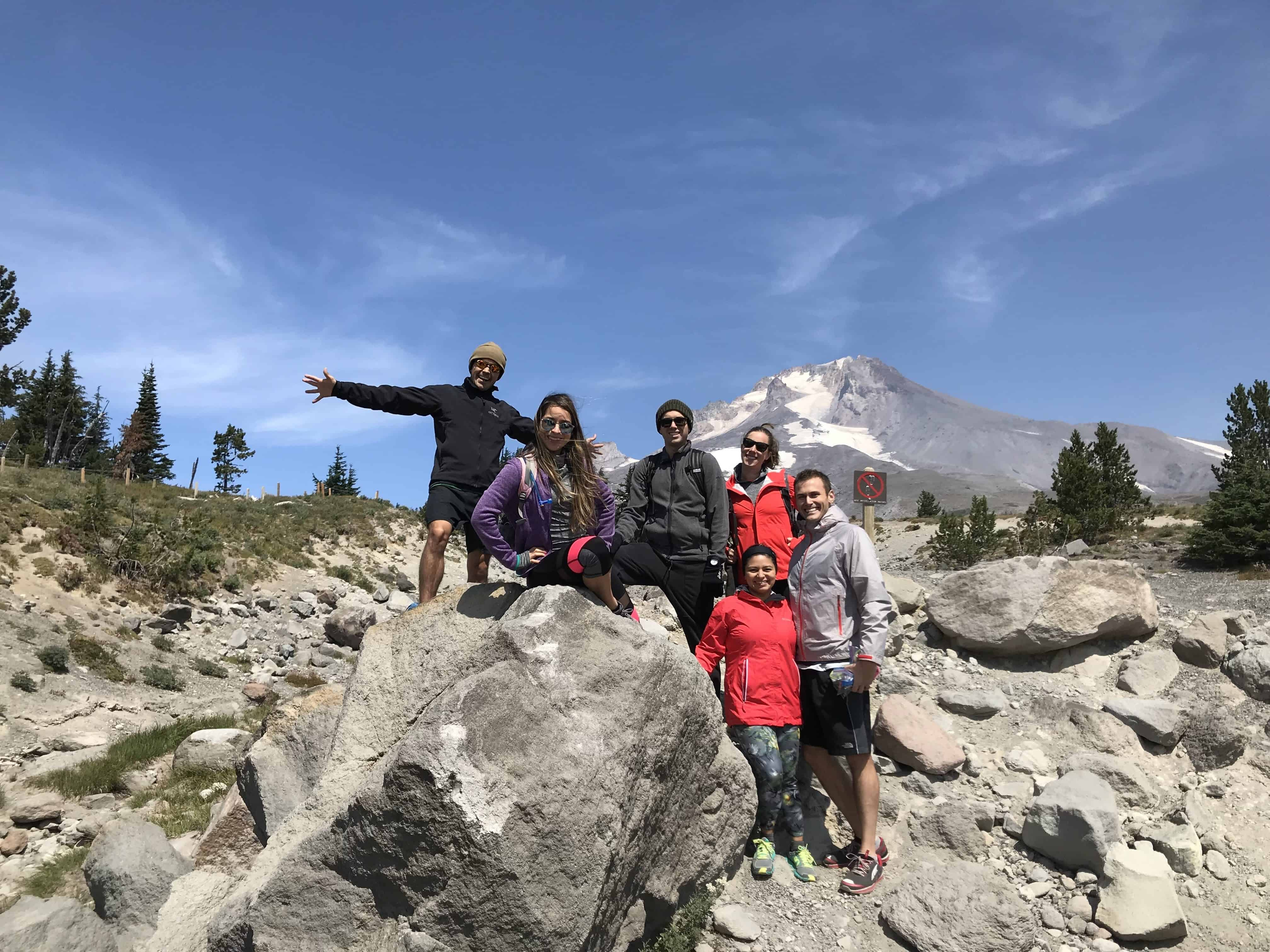 vacasa employees on a hike on Mt Hood, OR