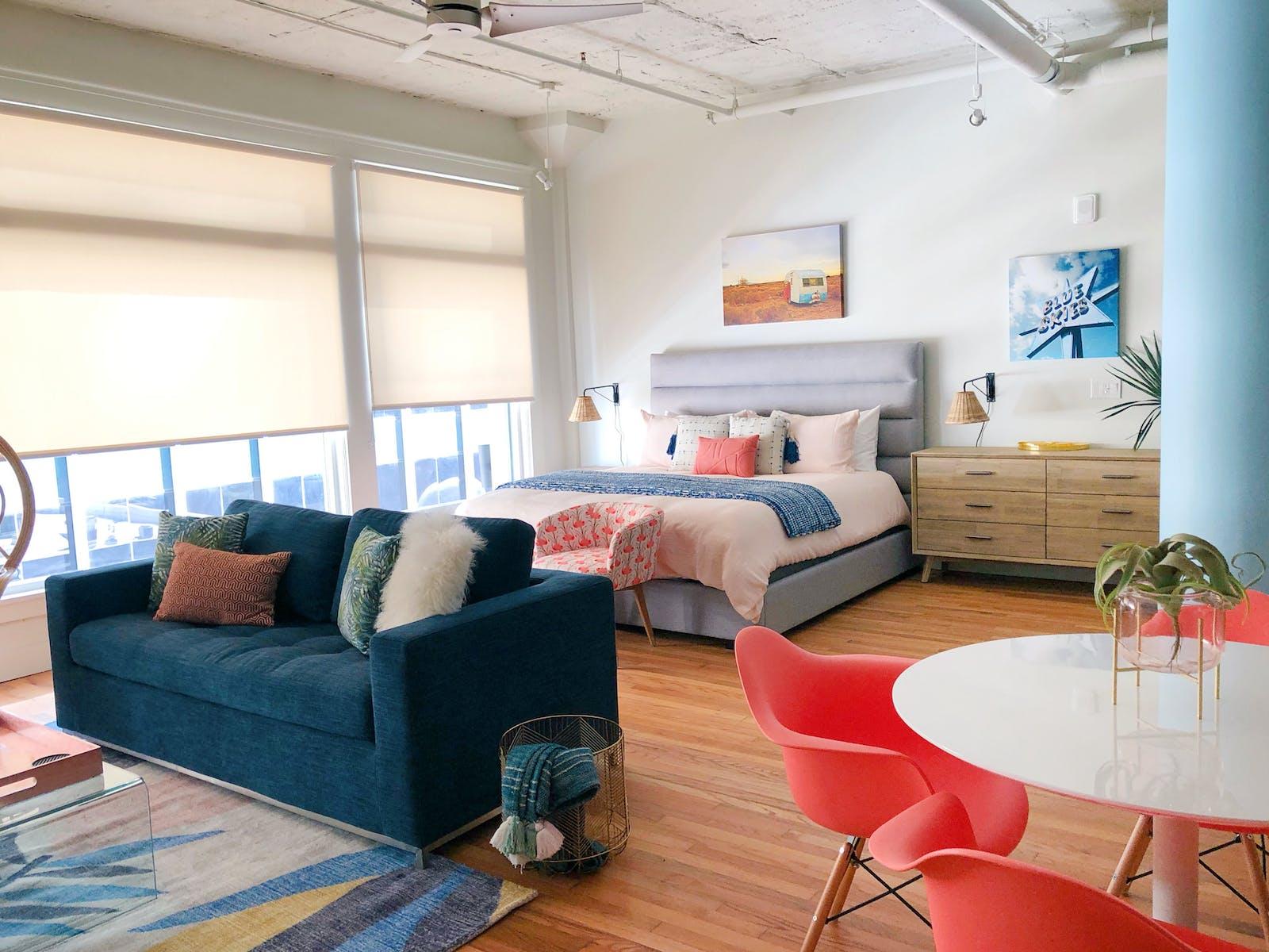 Vacation rental studio with chic decor