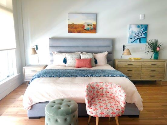 Cute vacation rental bedroom with boho decor
