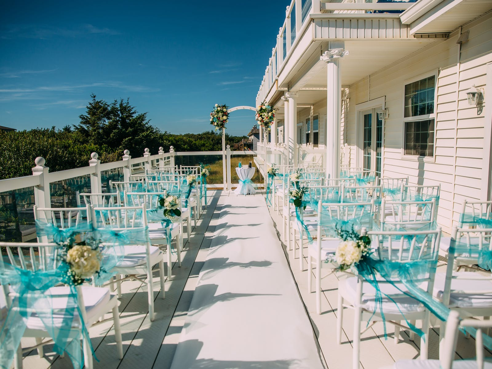 Seating for wedding ceremony set up at Judith Ann Inn in Ocean Shores, WA
