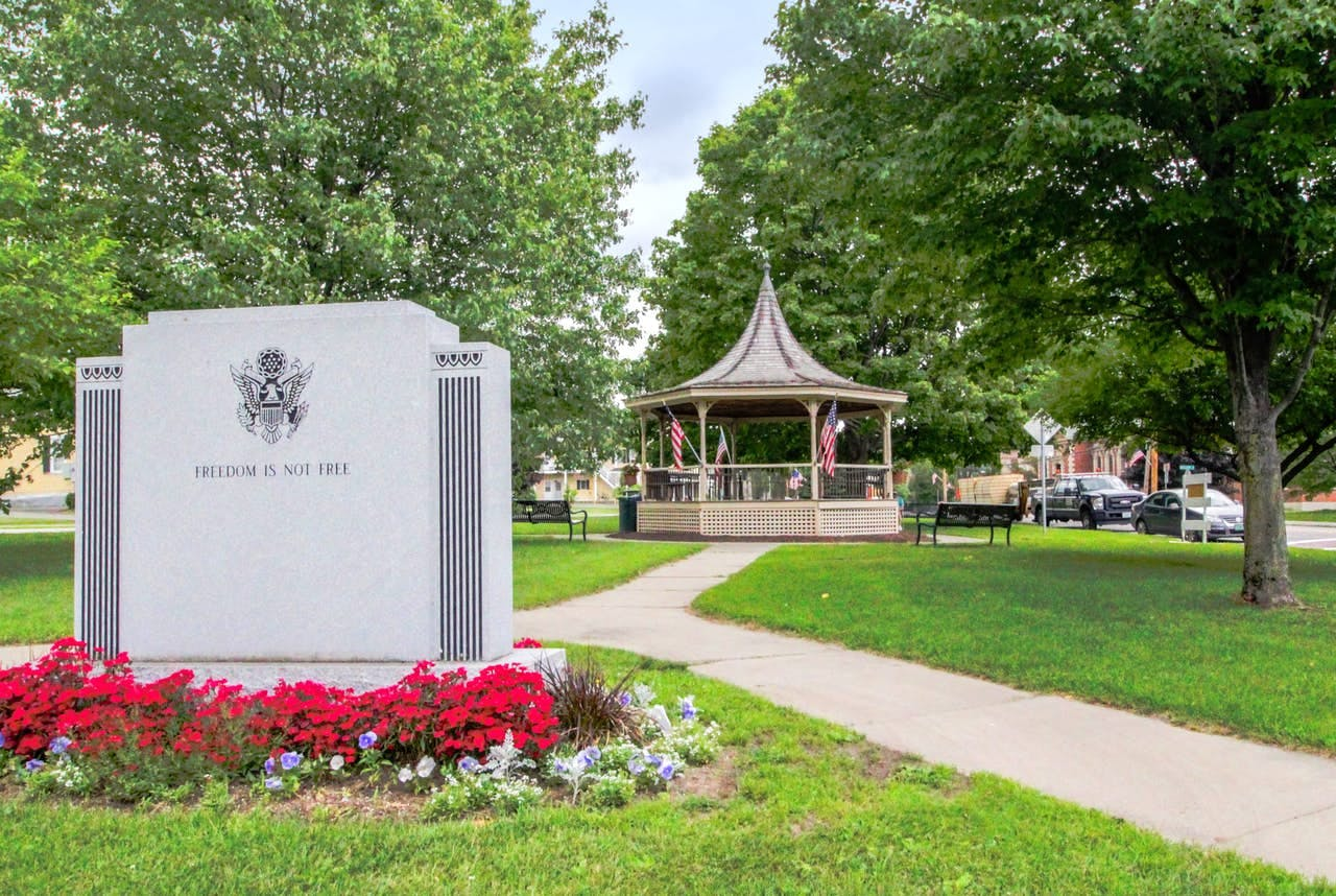 gazebo at the park in ludlow, vermont