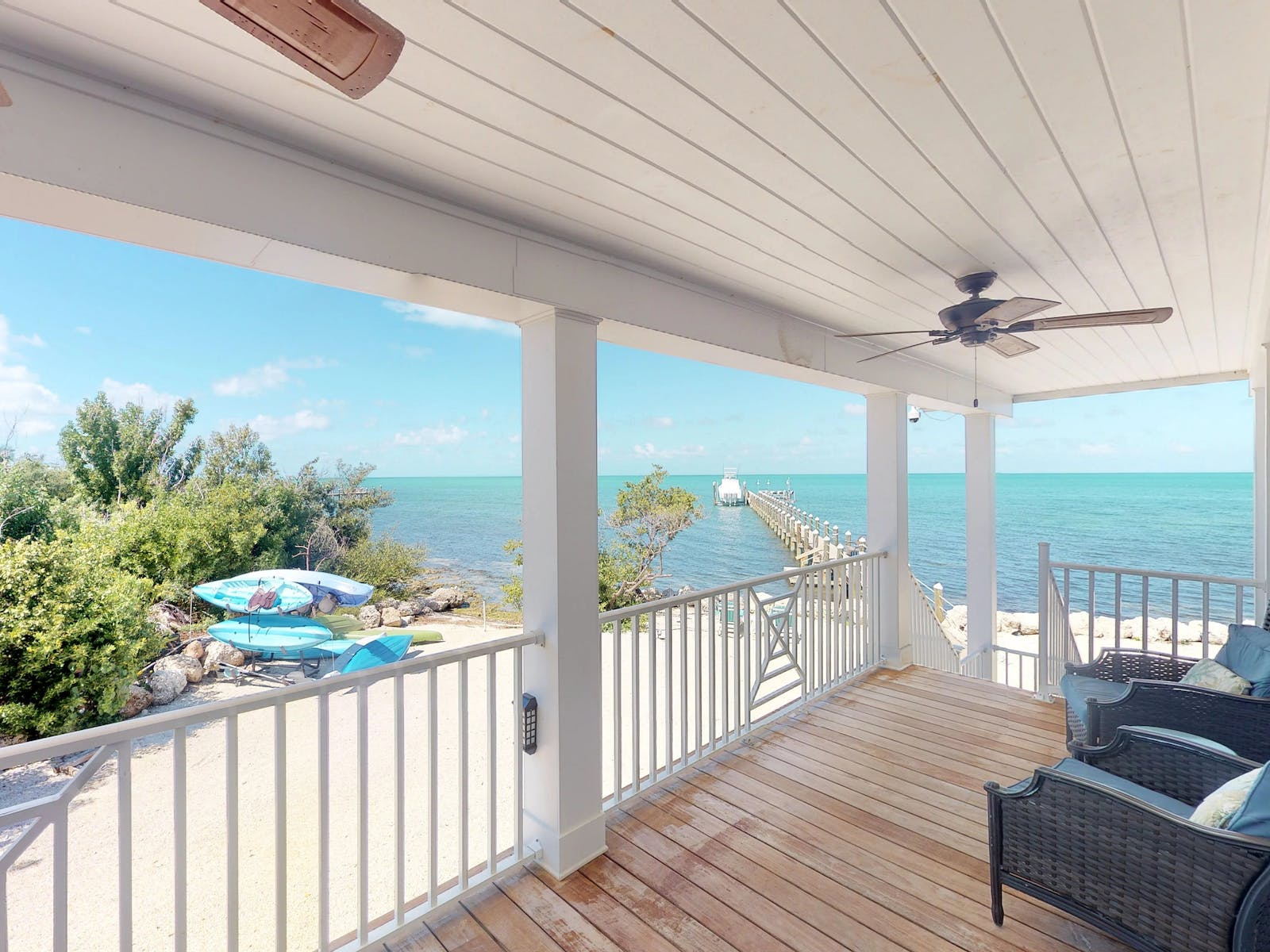 View of turquoise waters and beach from Marathon, FL beach house