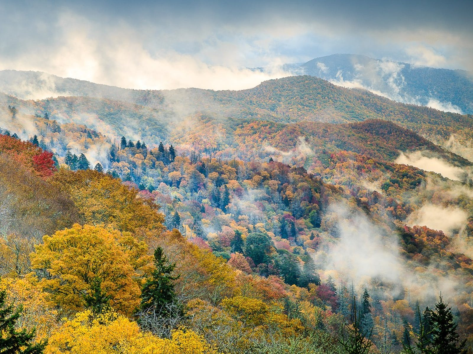 low laying clouds scattered throughout the smoky mountains in tennessee