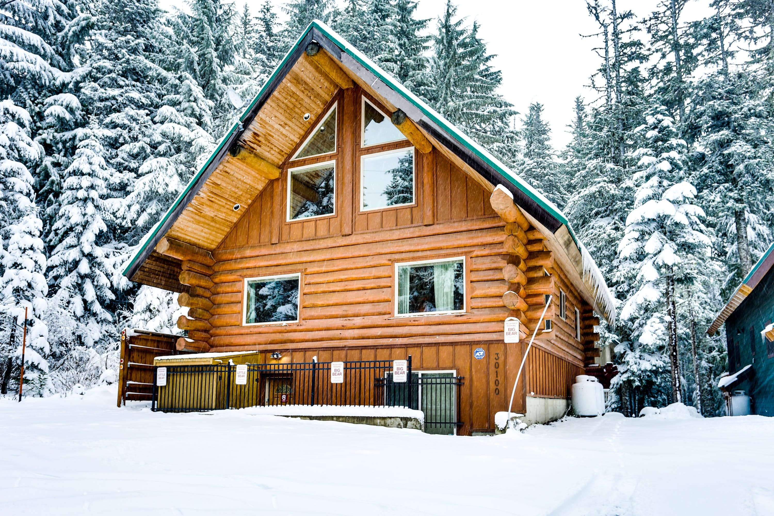 A cabin in the snow in Government Camp, Oregon