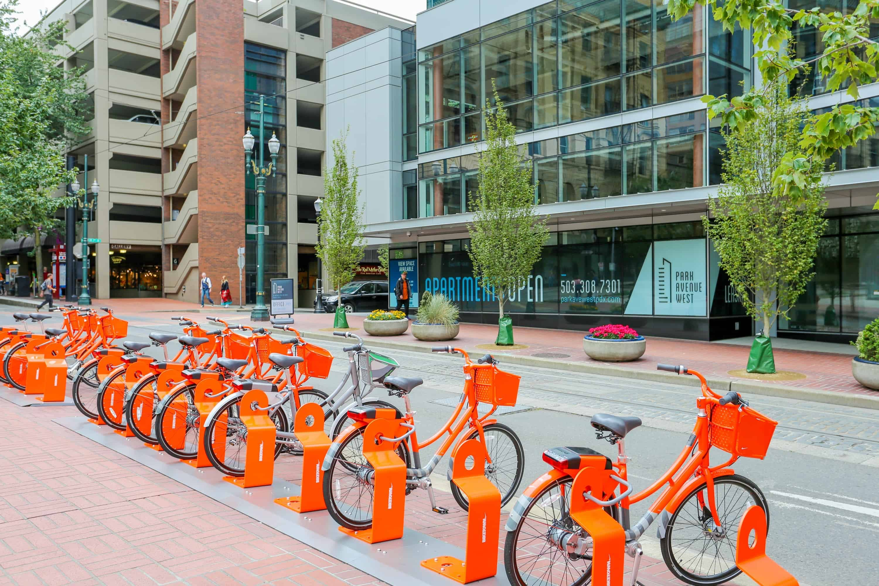 biketown bikes parked in downtown portland