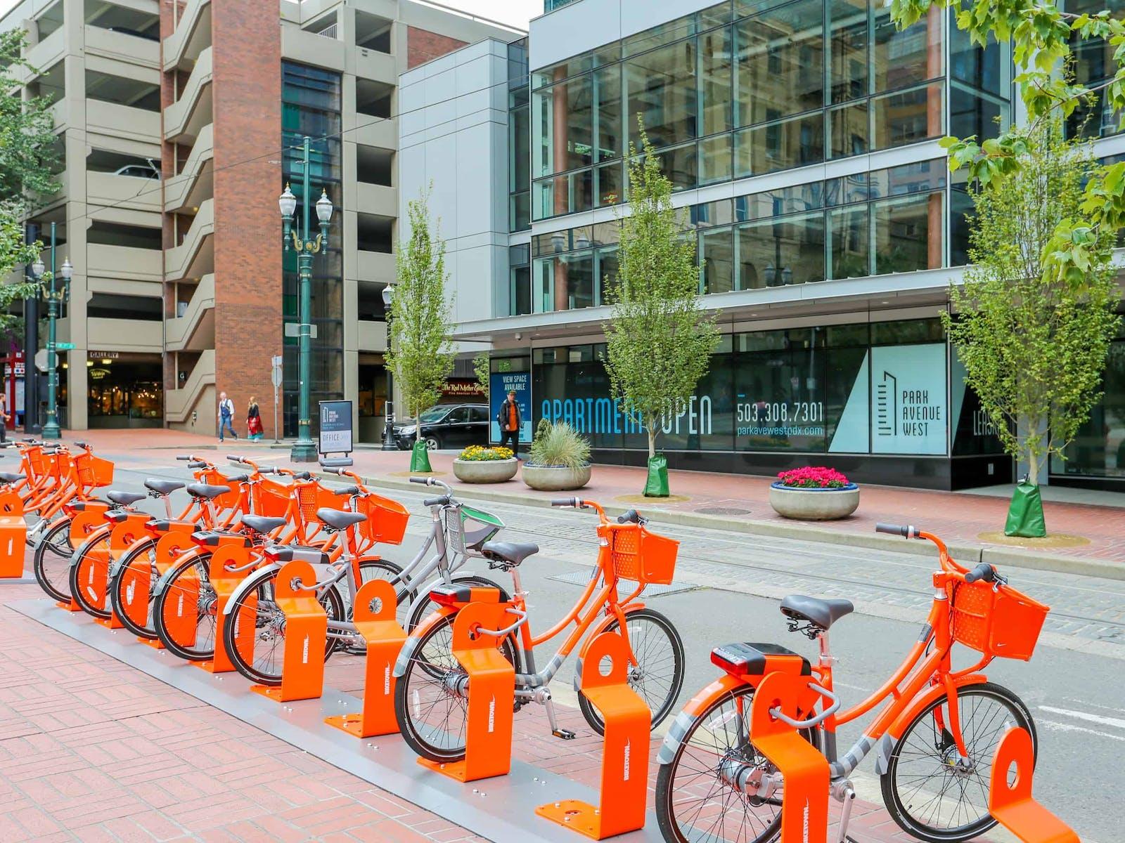 biketown bikes parked in downtown portland