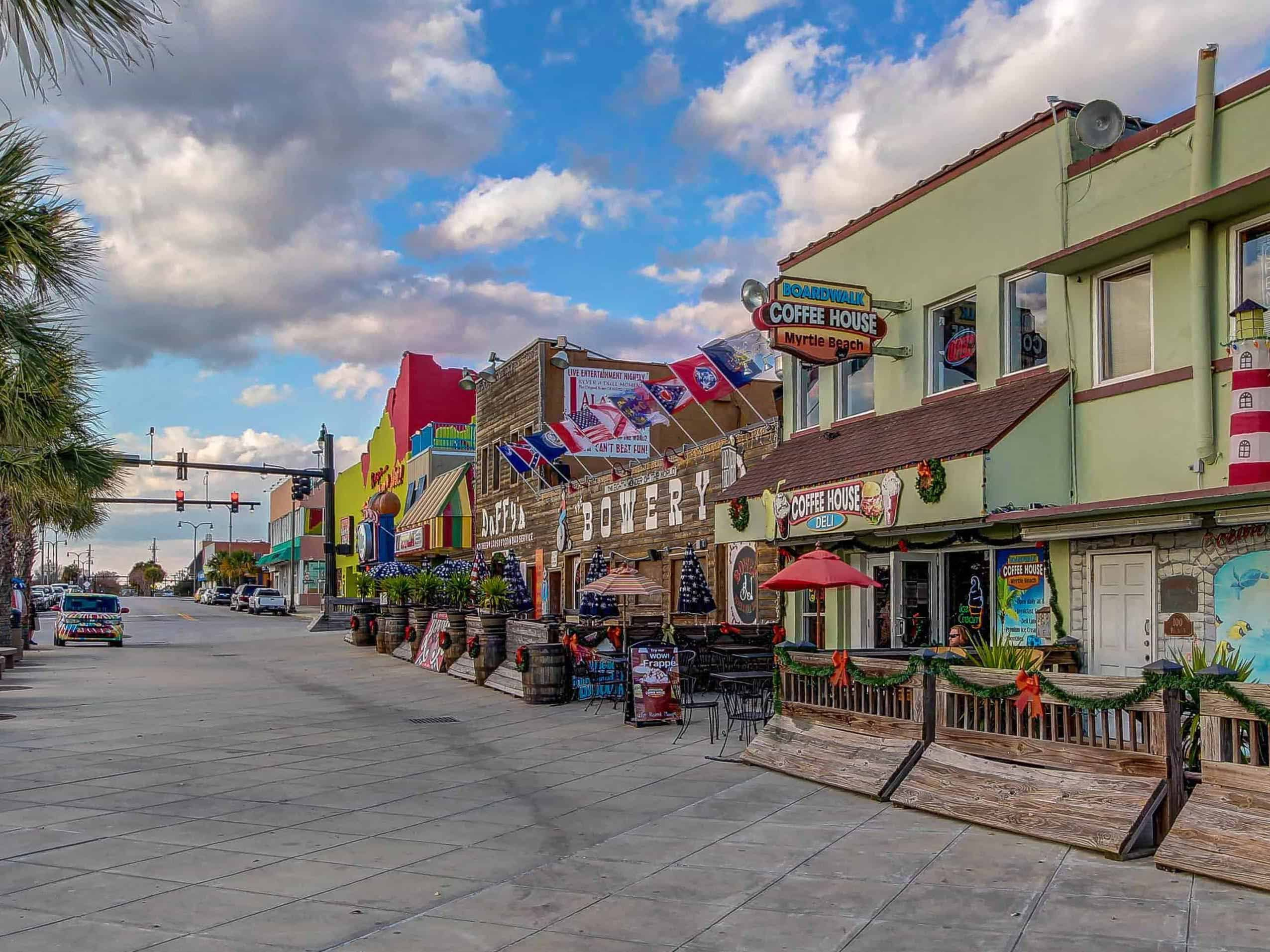 an array of colorful shops in downtown myrtle beach, south carolina