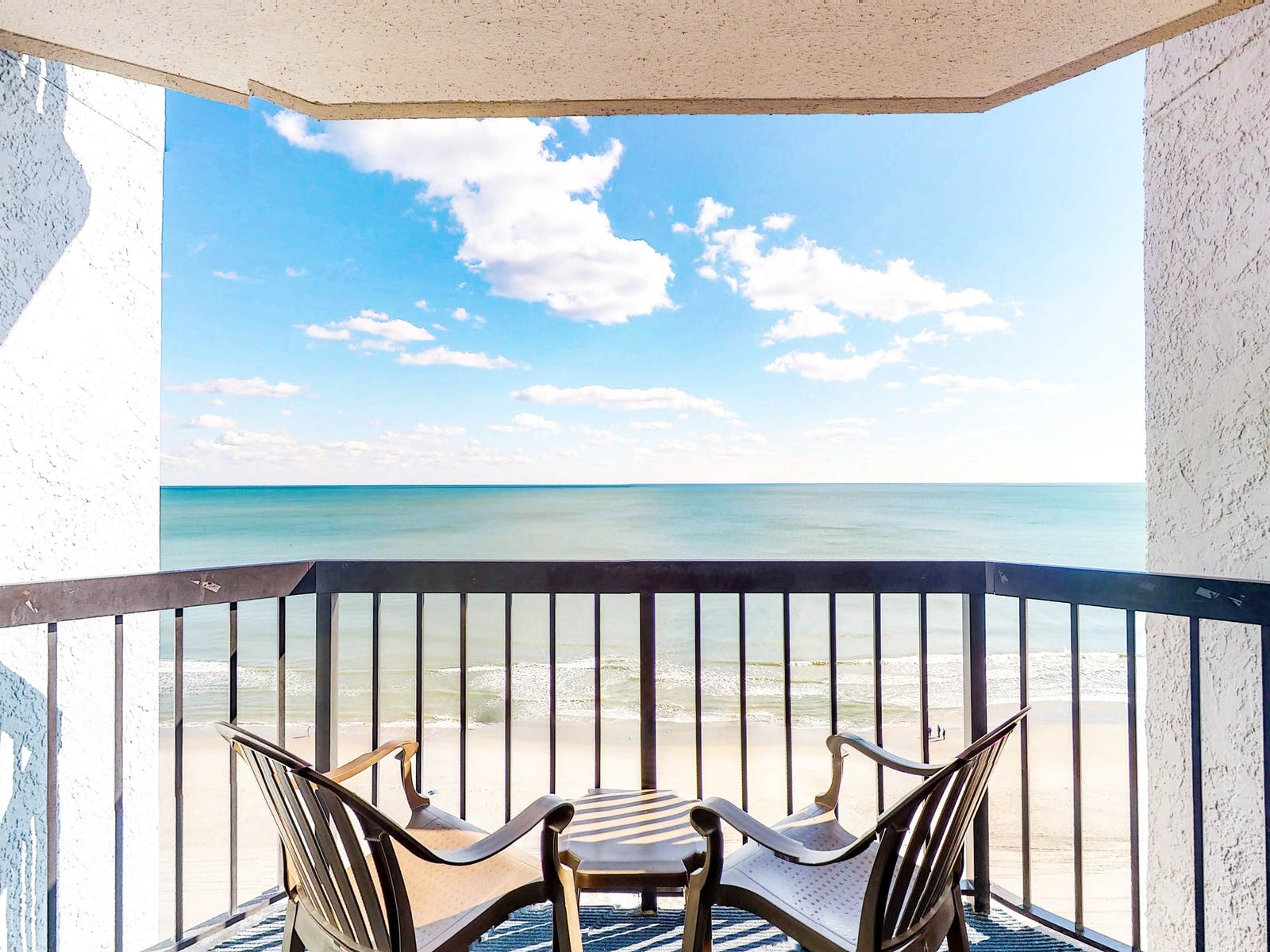 View of beach from Myrtle Beach vacation home rental balcony