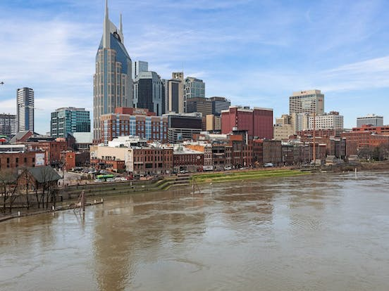 river and skyline view in Nashville
