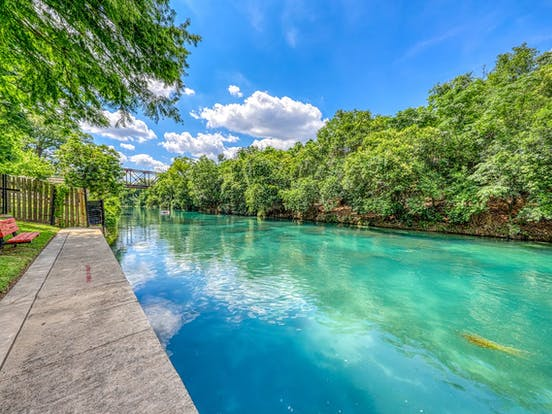 blue green waters of river in New Braunfels