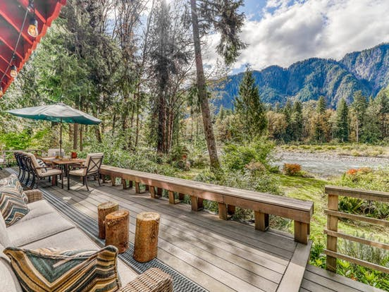 back deck of vacation rental facing river in North Cascades National Park