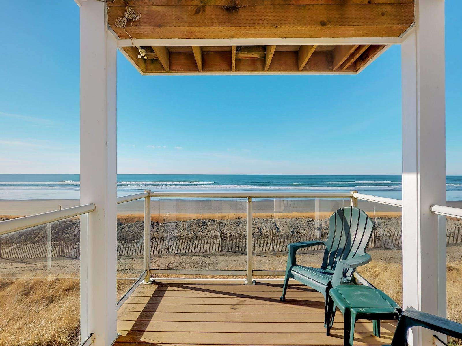 view of beach from Ocean Shores, WA beach house