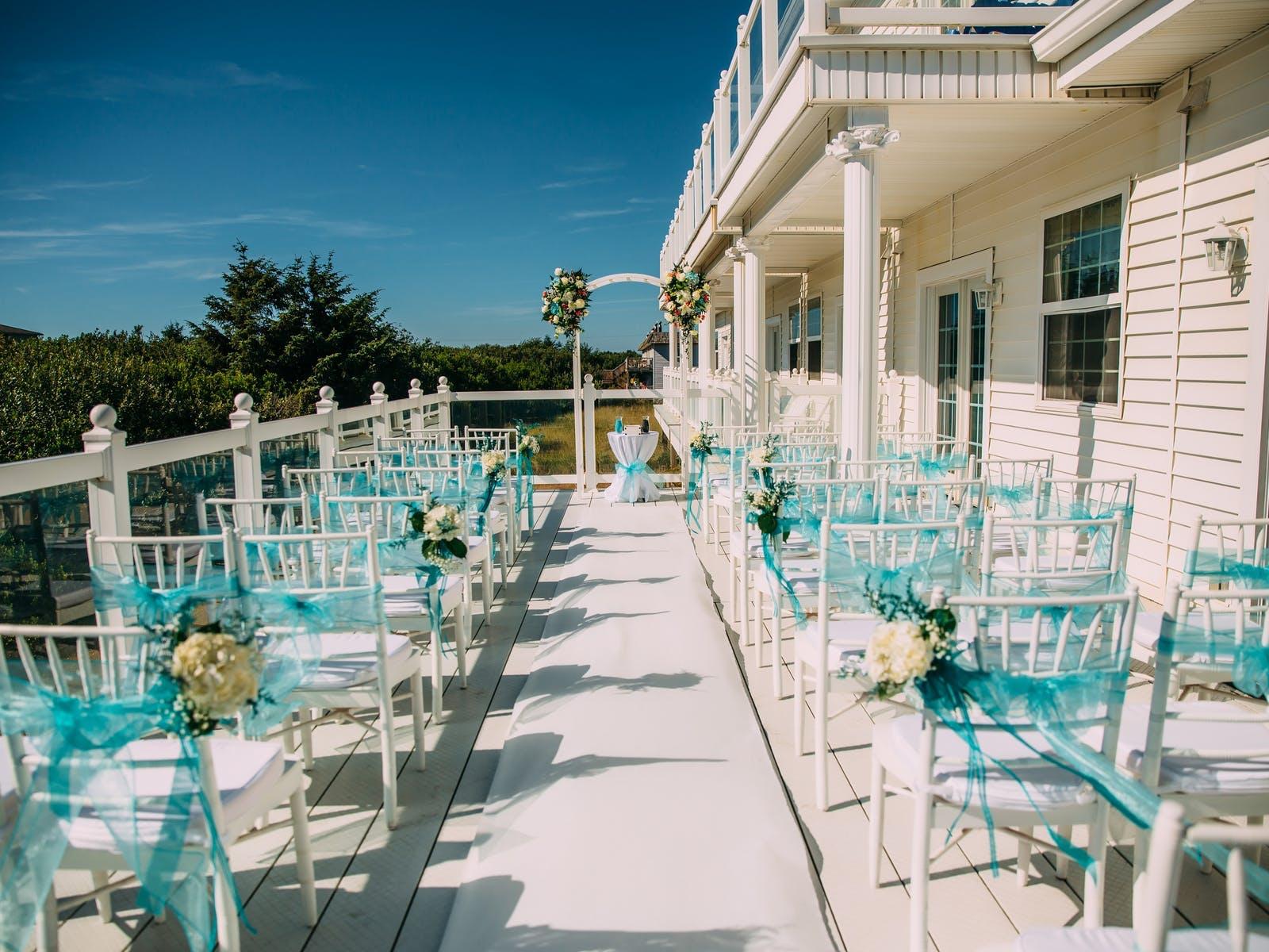 Outdoor wedding ceremony set-up in Ocean Shores, WA