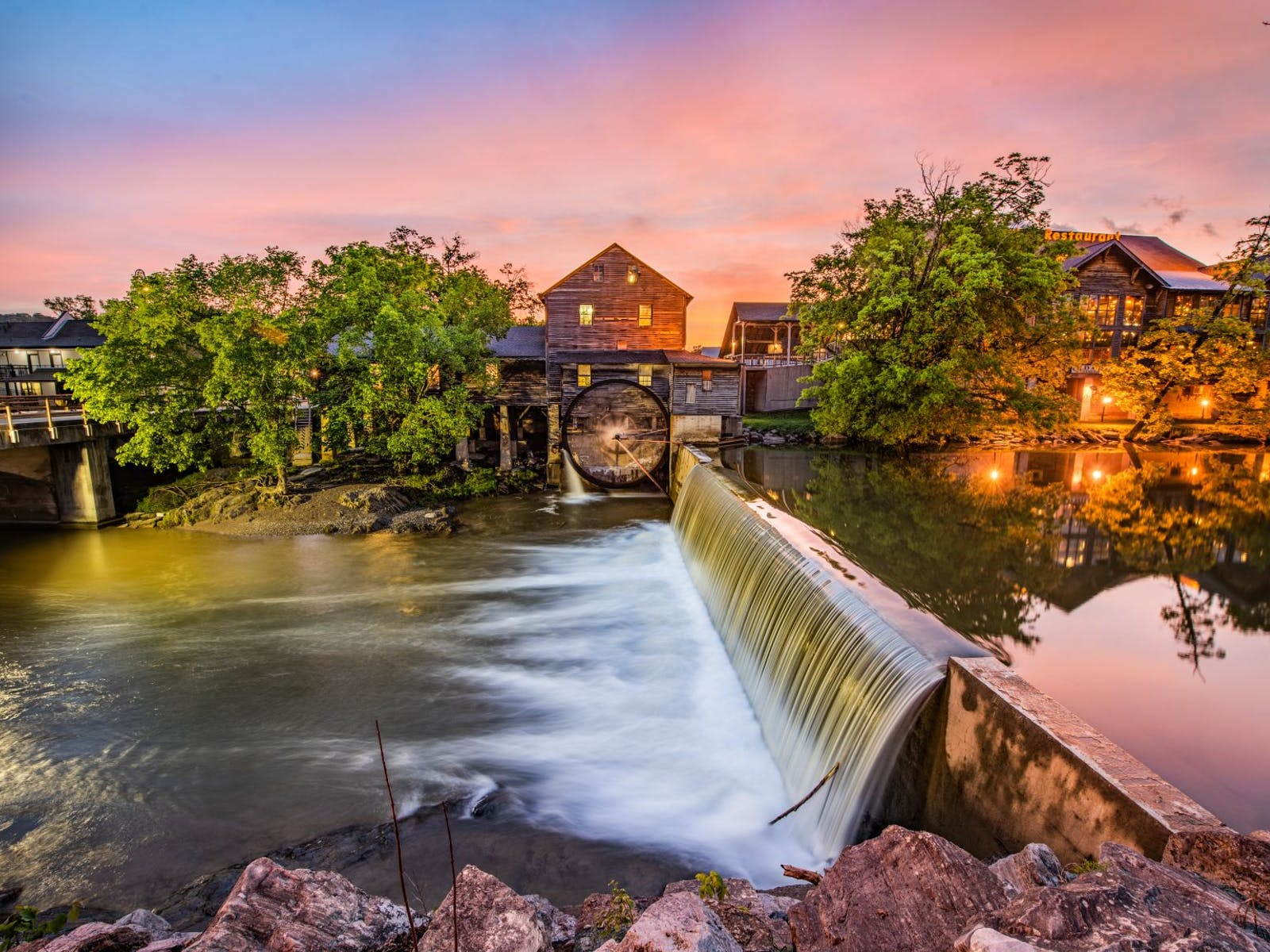mill along river in pigeon forge, tn