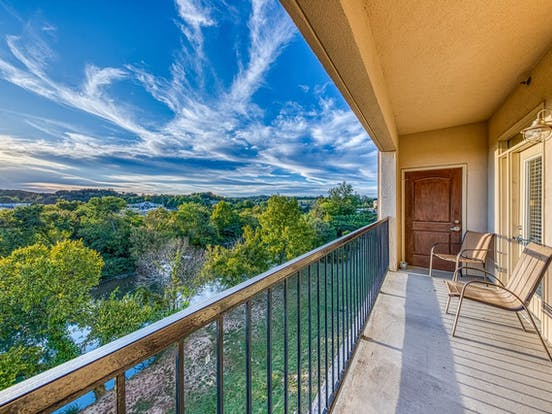 balcony of Sevierville vacation rental with river views