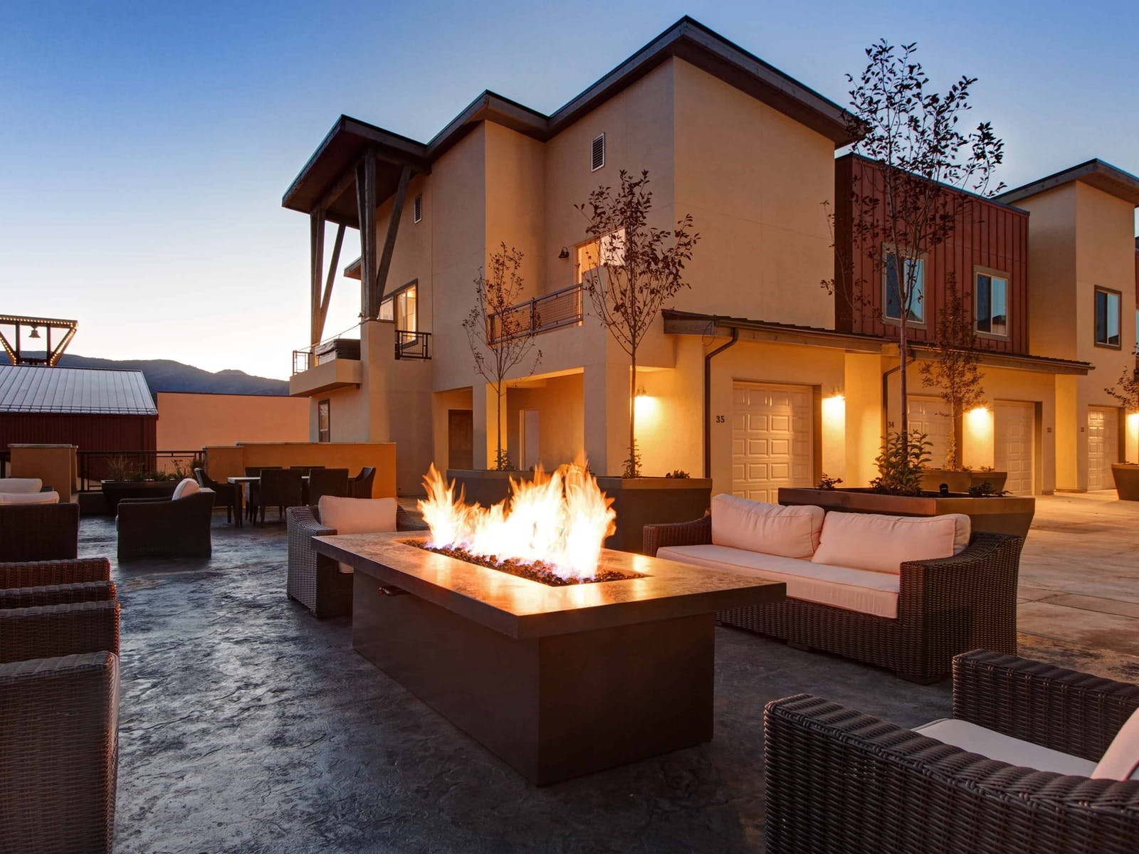 a community fireplace at a condo complex in Park City, UT