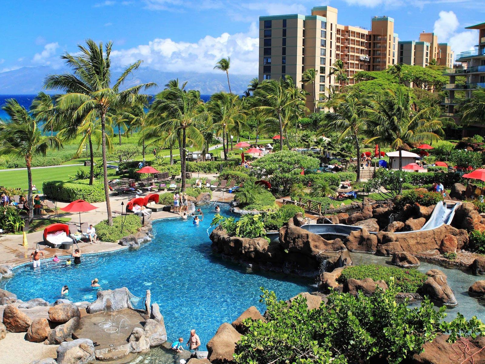 The swimming pool at a beach resort in Kaanapali, Maui