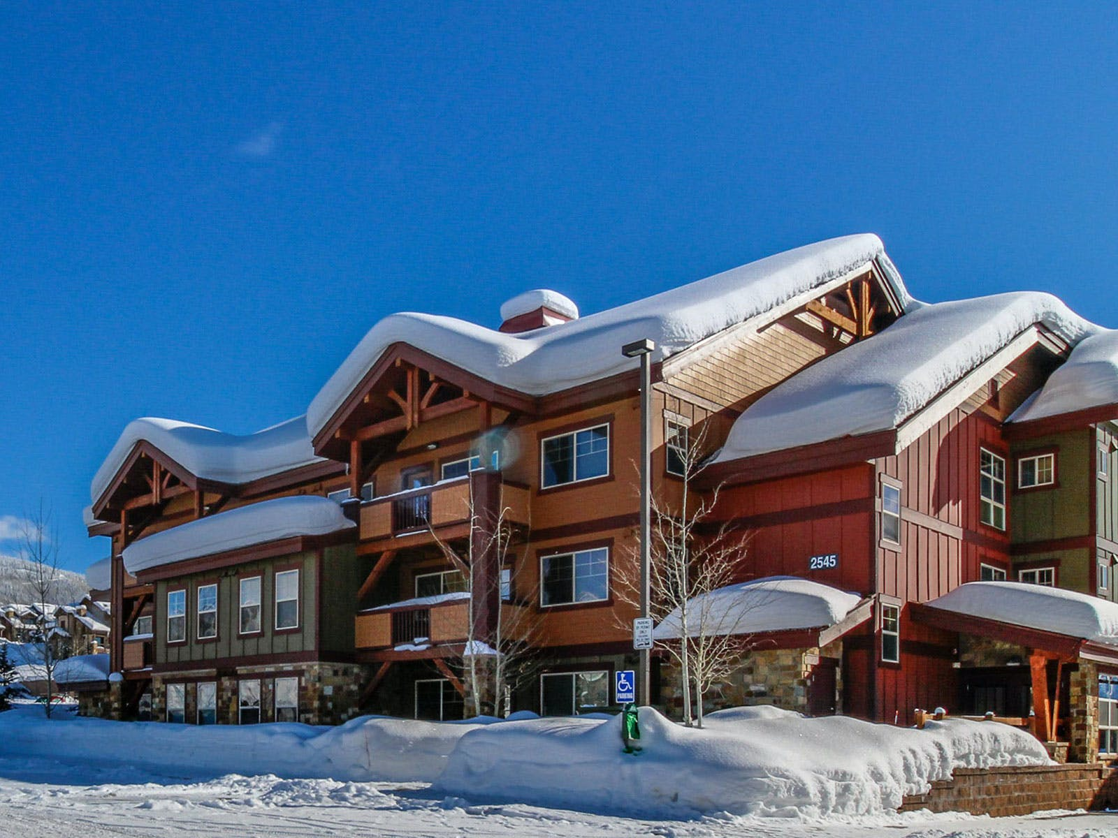 A condo building with ski in, ski out units in Steamboat Springs, CO