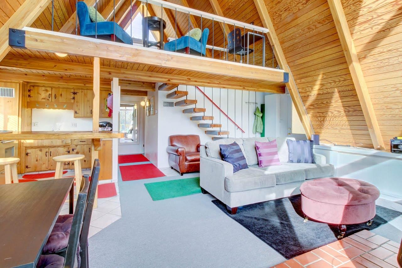 Interior of Big Bear, CA a-frame cabin rental