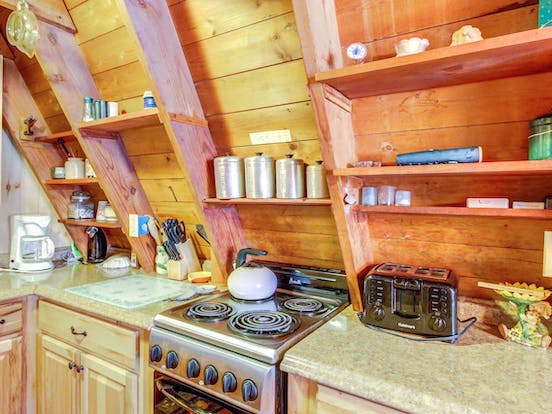 Kitchen of a-frame cabin rental located in Ludlow, VT