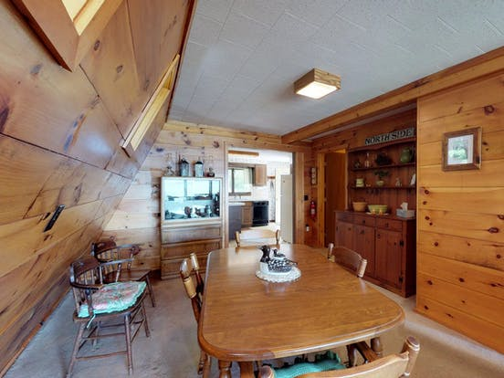 Wood interior of Maine a-frame cabin rental