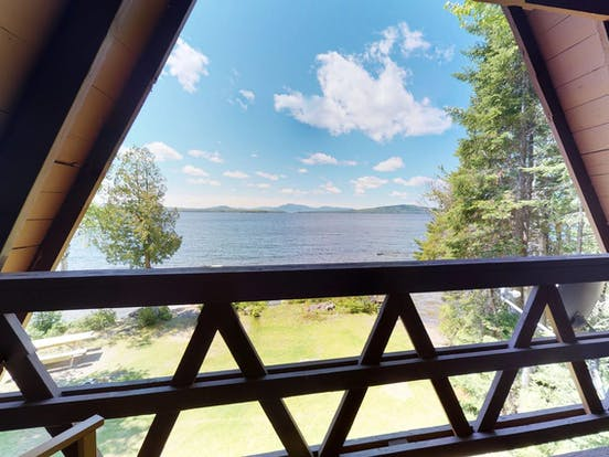 Lake view from Maine a-frame cabin rental