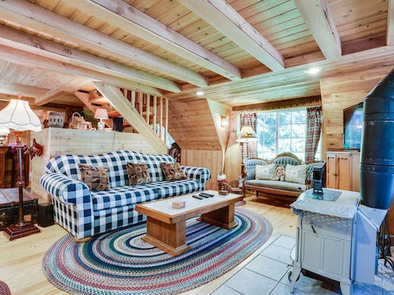 Cozy living space of Rhododendron, OR a-frame cabin