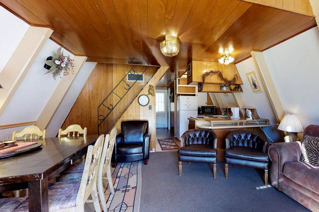 Cozy living space of Shaver Lake, CA a-frame vacation rental