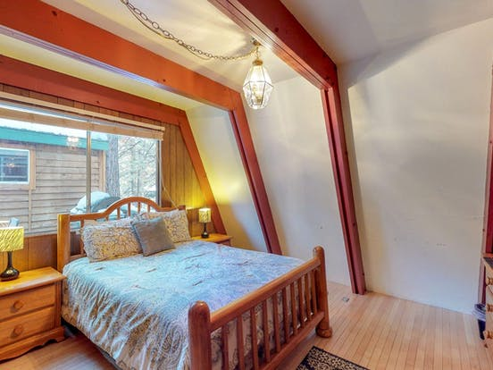 Bedroom of South Lake Tahoe a-frame vacation cabin