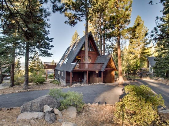 Exterior of a-frame vacation cabin located in Tahoe City, CA