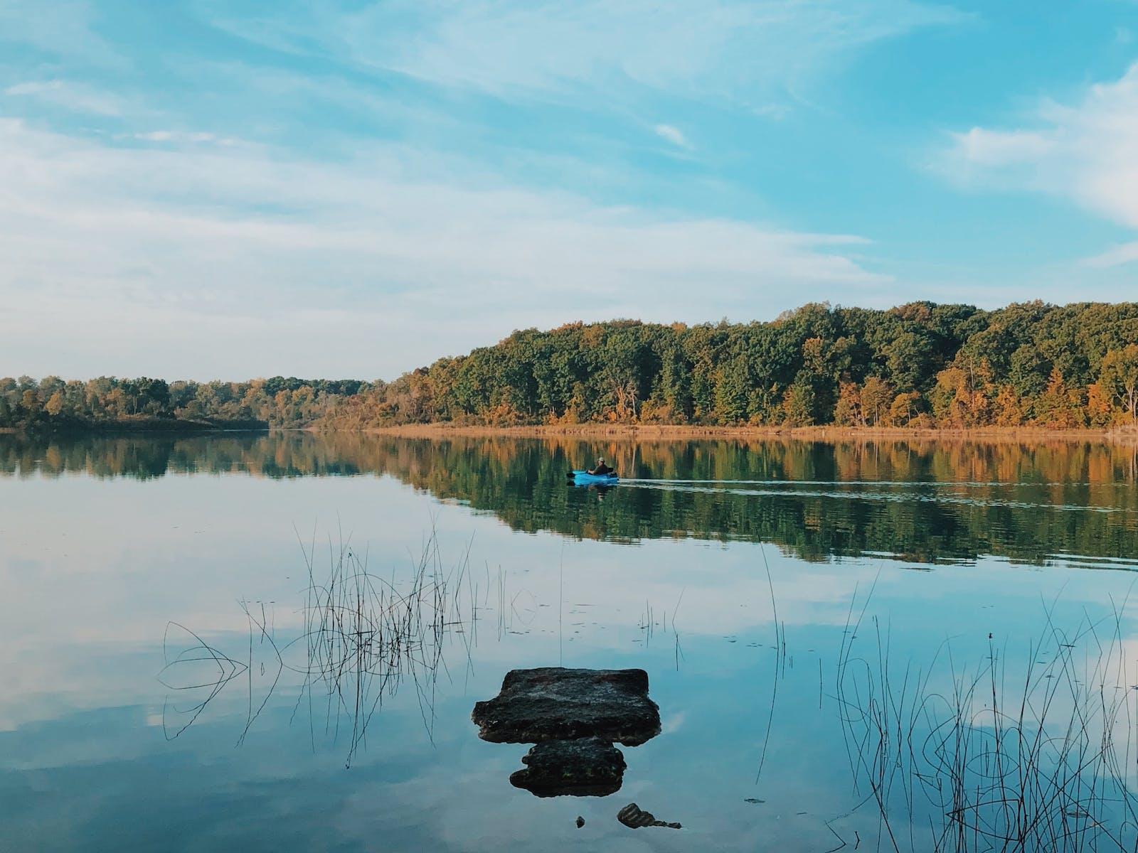 a boat on lake michigan in the fall