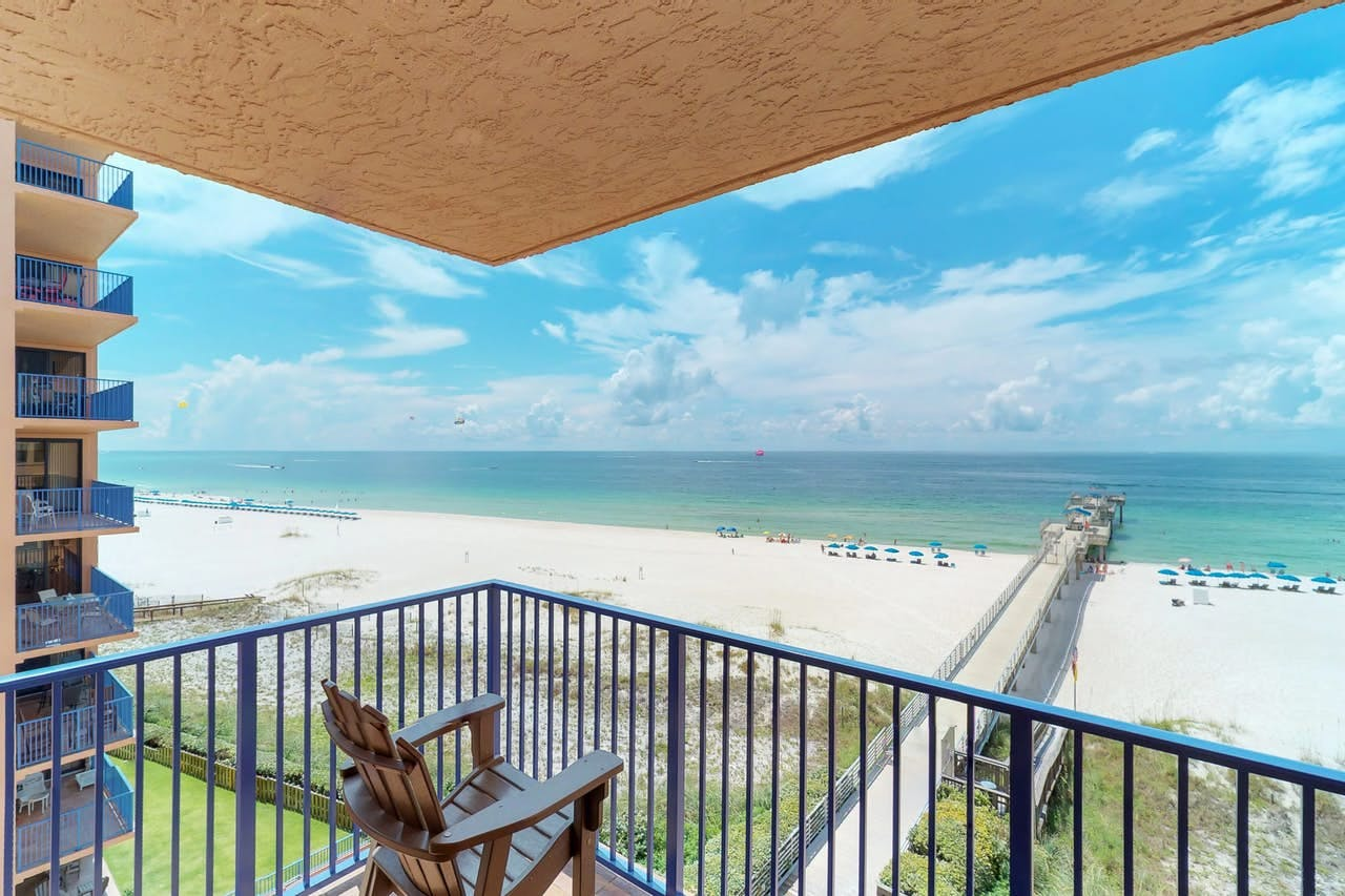 a view from a high rise condo in Orange Beach of the pier leading into the ocean