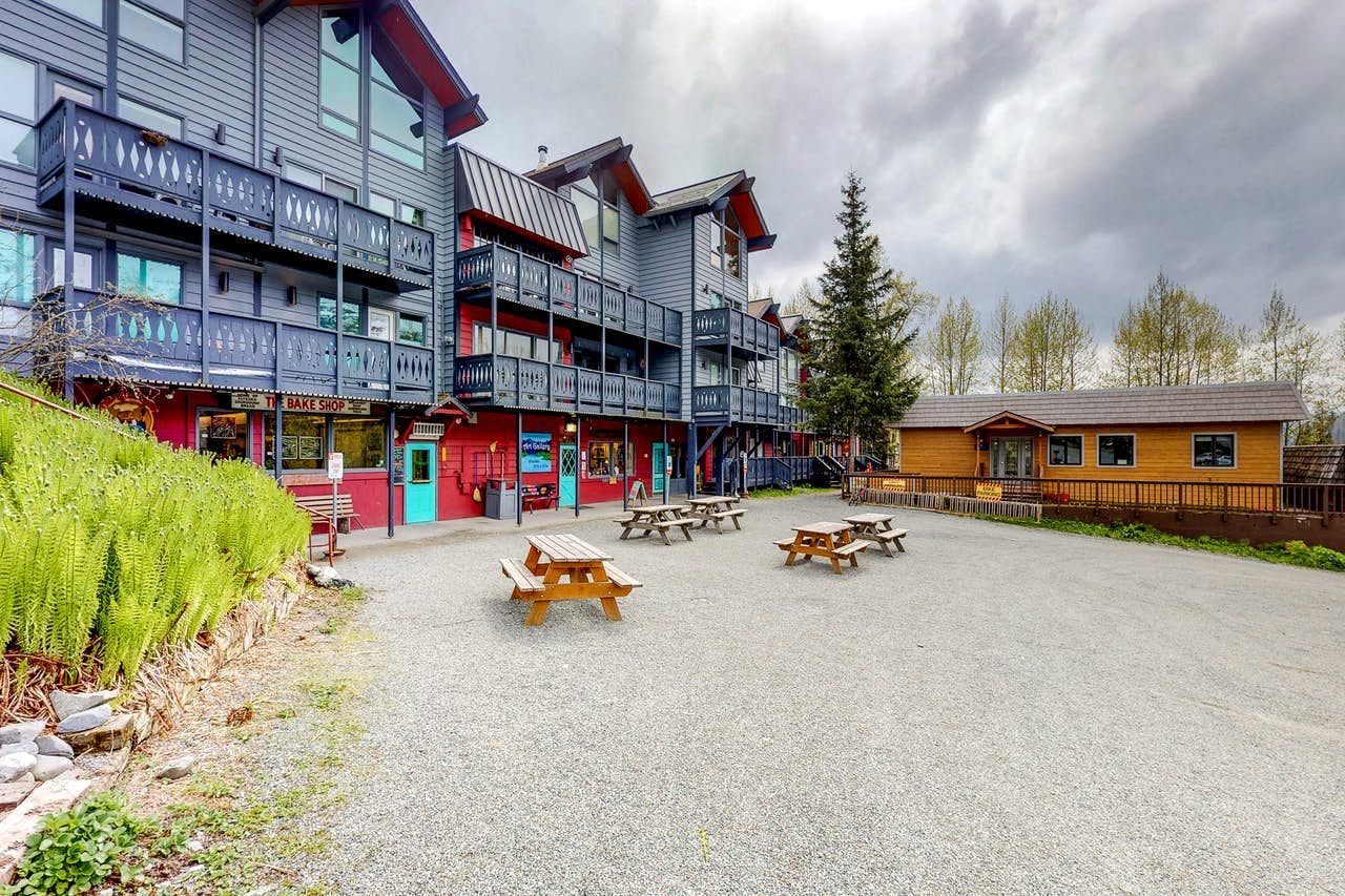 the picnic area in front of the East Condo in Girdwood, Alaska