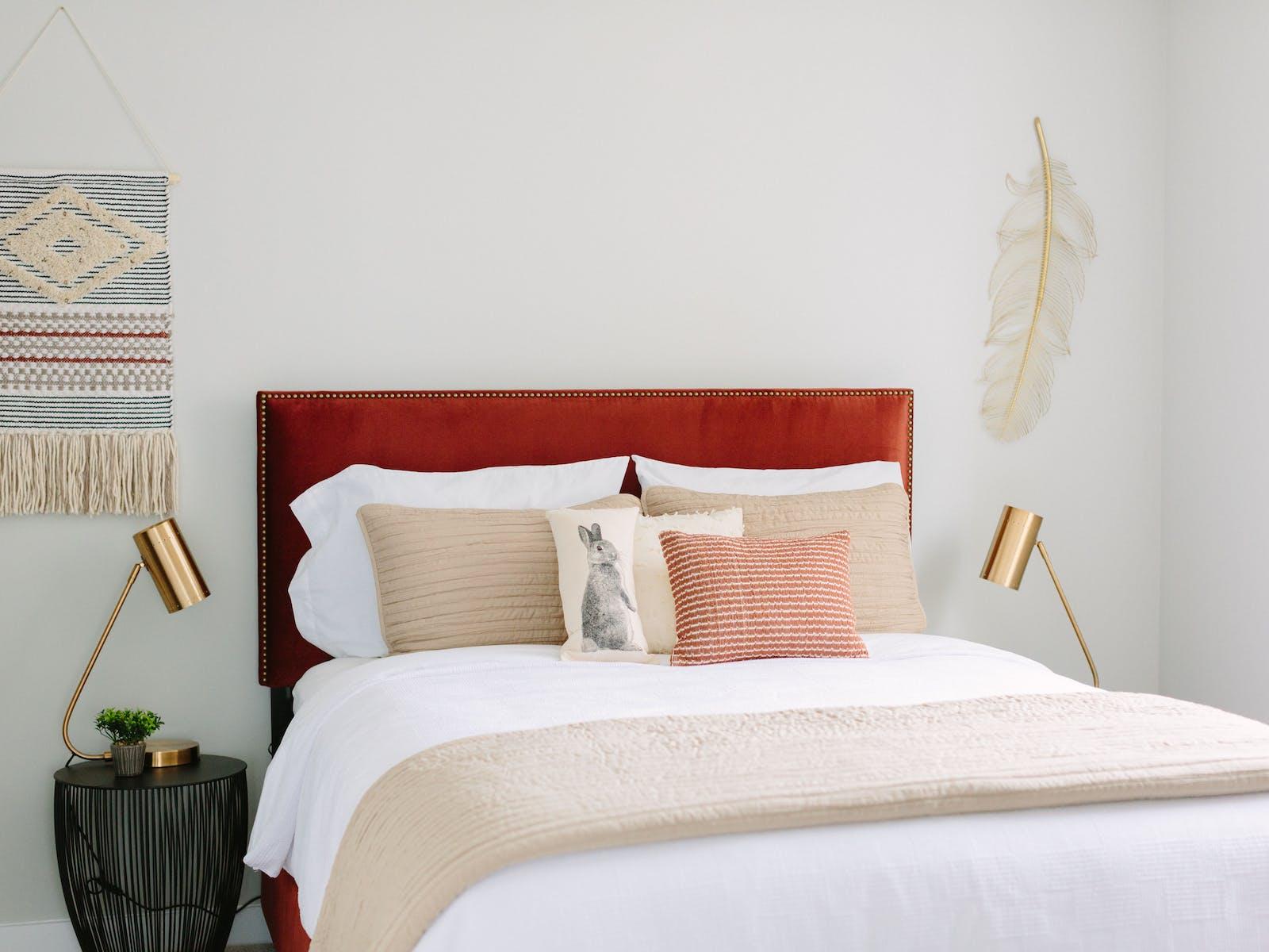 Artfully designed bedroom of vacation rental