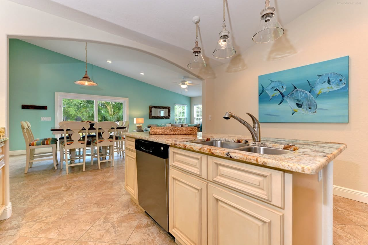 a modern kitchen in an anna maria vacation rental